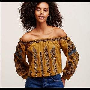 Free people all I need Top embroidered mustard